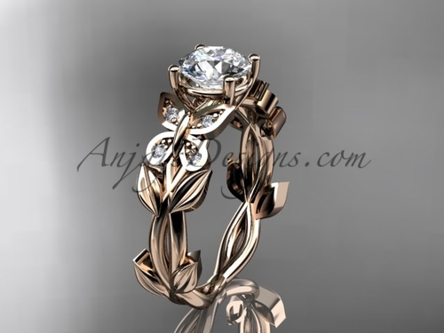 Butterfly Engagement Rings -Rose Gold Diamond Ring ADLR526