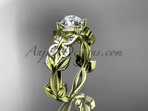 Butterfly Engagement Rings -Yellow Gold Diamond Ring ADLR526