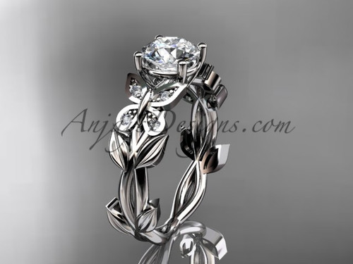 Diamond Engagement Rings -White Gold Butterfly Ring ADLR526