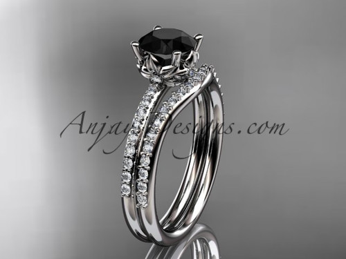 14kt white gold diamond floral wedding ring, engagement set with a Black Diamond center stone ADLR92S