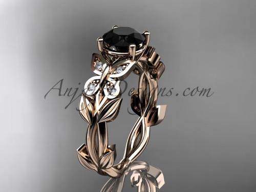 Black Diamond Bridal Rings -Rose Gold Butterfly Ring ADLR526