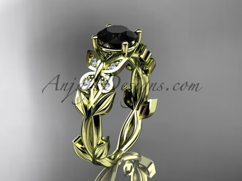 Black Diamond Bridal Rings -Yellow Gold Butterfly Ring ADLR526
