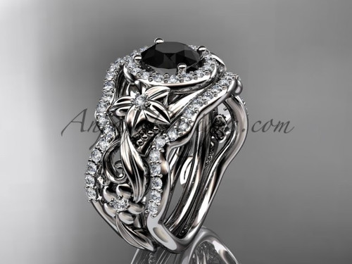Beautiful Luxury Leaf & Flower Wedding Ring, Halo Engagement Ring with Double Stacking Ring, Black Diamond Ring ADLR300S