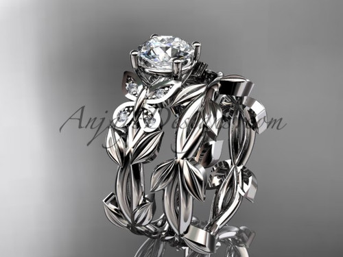 Butterfly Wedding Sets - Platinum Moissanite Ring ADLR526S
