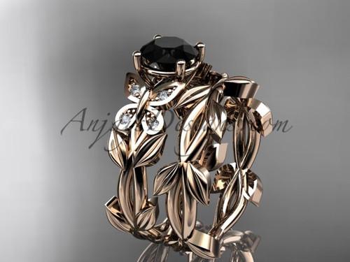 Rose Gold Black Diamond Butterfly Wedding Sets ADLR526S