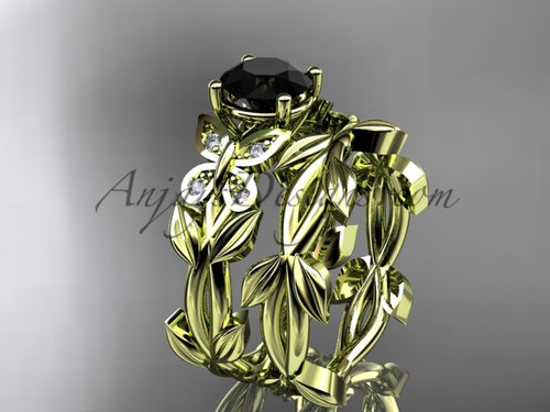 Butterfly Wedding Sets - Yellow Gold Black Diamond Ring ADLR526S