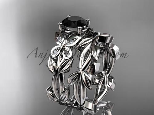 Butterfly Wedding Sets, Platinum Black Diamond Ring ADLR526S