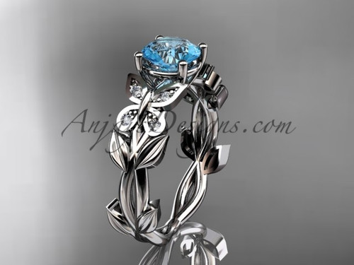 Aquamarine Wedding Rings White Gold Butterfly Ring ADAM526