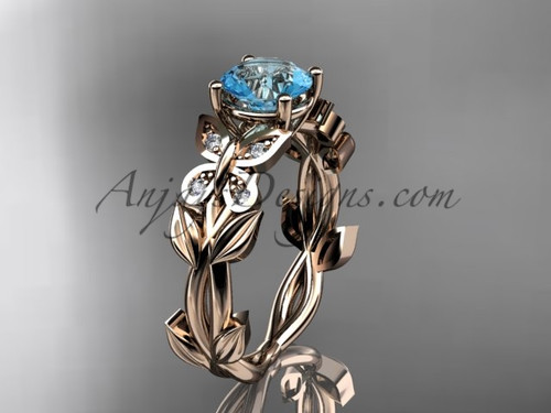Aquamarine Engagement Rings Rose Gold Butterfly Ring ADAM526