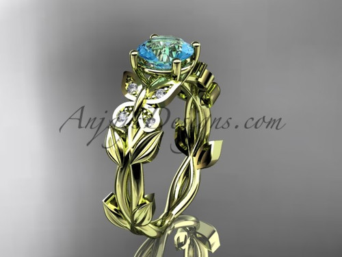 Aquamarine Wedding Rings Yellow Gold Butterfly Ring ADAM526