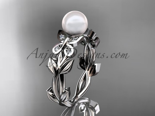 Pearl Engagement Rings -White Gold Butterfly Ring AP526