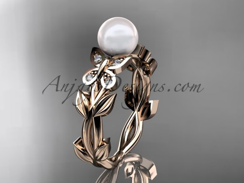 Pearl Engagement Rings -Rose Gold Butterfly Ring AP526