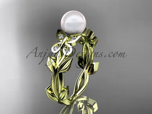 Pearl Engagement Rings -Yellow Gold Butterfly Ring AP526