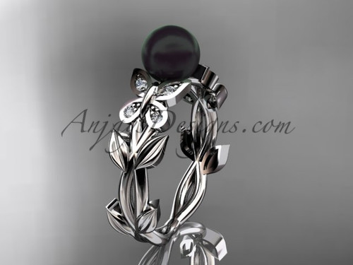 Black Pearl Bridal Rings - White Gold Butterfly Ring ABP526