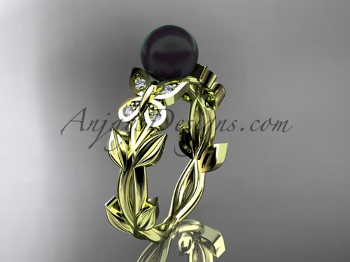 Yellow gold Butterfly Bridal ring With Diamonds for women ABP526