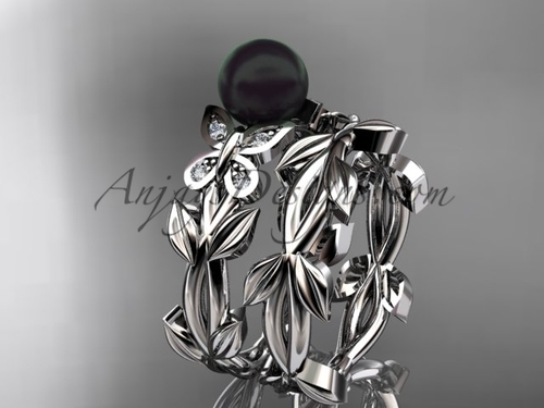 Black Pearl Bridal Set - White Gold Butterfly Ring ABP526S