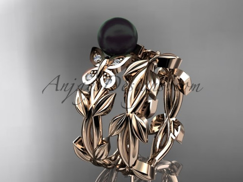 Black Pearl Bridal Set - Rose Gold Butterfly Ring ABP526S