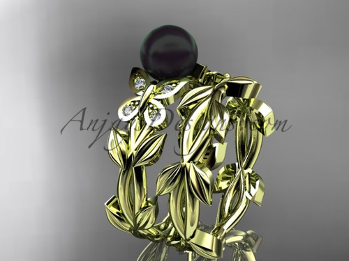 Black Pearl Bridal Set - Yellow Gold Butterfly Ring ABP526S