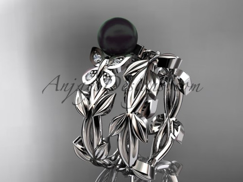 Black Pearl Bridal Set - Platinum Butterfly Ring ABP526S