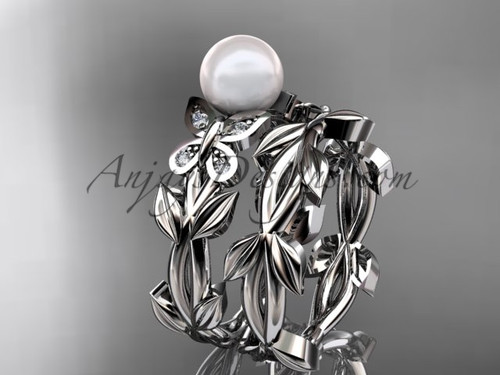 Pearl Bridal Set - White Gold Butterfly Ring AP526S