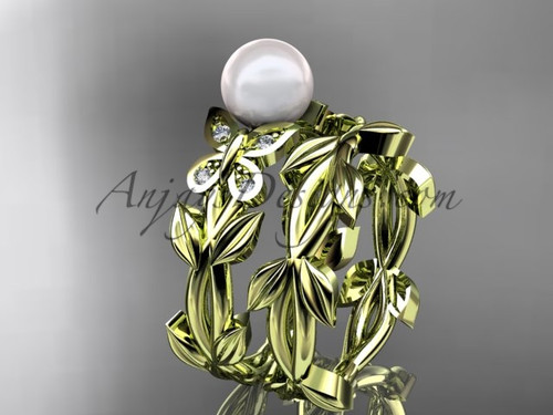 Pearl Bridal Set - Yellow Gold Butterfly Ring AP526S