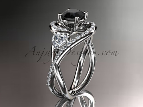 Unique 14kt white gold diamond engagement ring, wedding ring with a Black Diamond center stone ADLR320