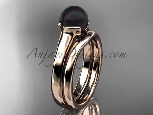 Rose Gold Vintage Black Pearl Bridal Ring Set VBP10016S