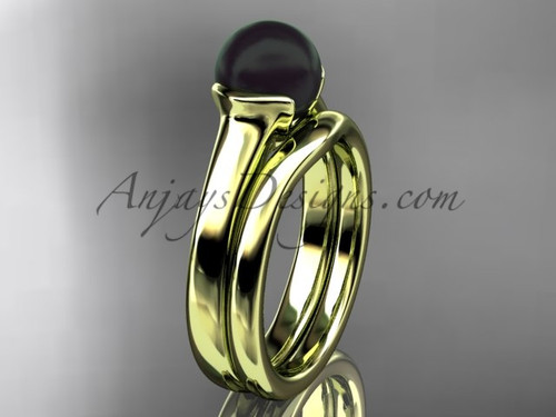 Yellow Gold Vintage Black Pearl Bridal Ring Set VBP10016S