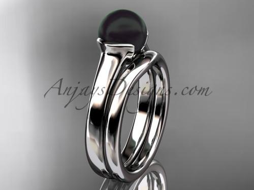 Platinum Vintage Black Pearl Bridal Ring Set VBP10016S