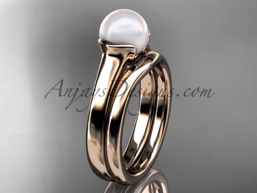 Rose Gold Vintage Pearl Bridal Ring Set VP10016S