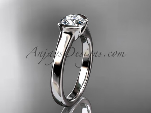 Unusual Engagement Rings White Gold Vintage Ring VD10016