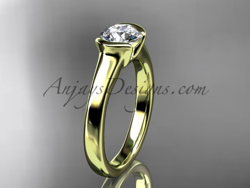 Unusual Engagement Rings Yellow Gold Vintage Ring VD10016