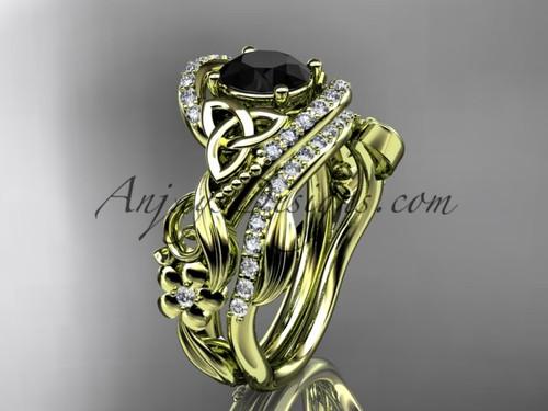 14kt yellow gold diamond celtic trinity knot wedding ring, engagement set with a Black Diamond center stone CT7211S
