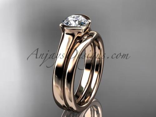 Simple Wedding Ring Sets Rose Gold Moissanite Ring VD10016S