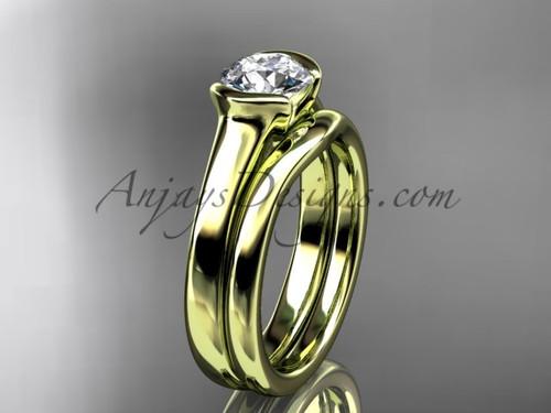 Simple Wedding Ring Set Yellow Gold Moissanite Ring VD10016S