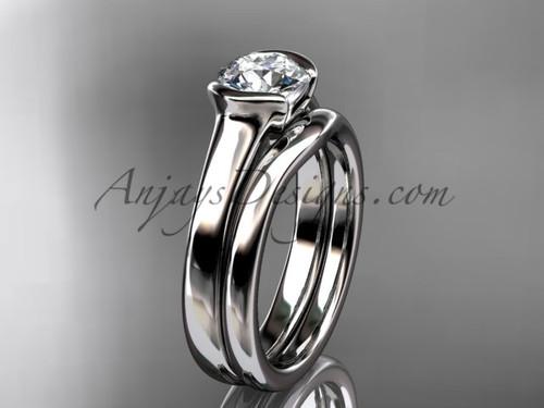 Simple Wedding Ring Sets Platinum Moissanite Ring VD10016S