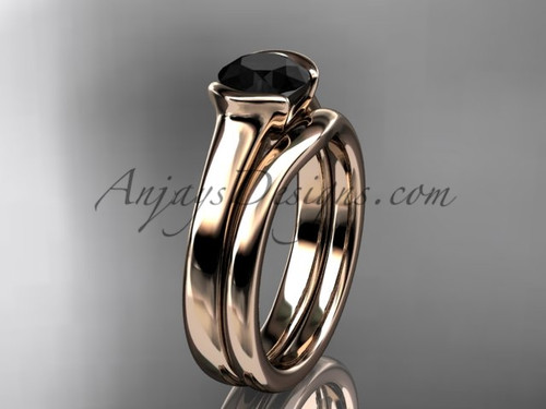 Vintage Wedding Sets Rose Gold Black Diamond Ring VD10016S