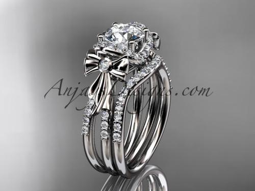 platinum diamond unique engagement set, wedding ring, bow ring ADER155S