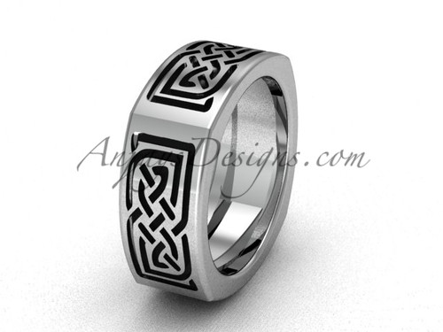 Unique Square Engagement Rings - Gold Celtic Wedding Band CT7506G