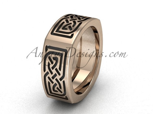 Unique Square Bridal Rings Rose Gold Celtic Wedding Band CT7506G