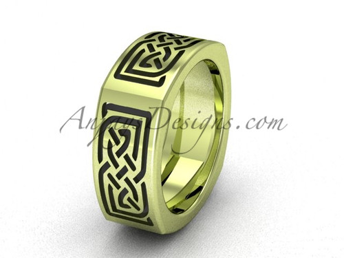 Celtic Bridal Rings - 14kt yellow Gold Unique Wedding Band CT7506G
