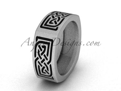 Matte Finish Irish Wedding Bands - Platinum Celtic Engagement Ring  CT7506G