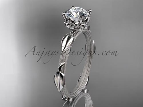 "14k white gold diamond vine and leaf wedding ring, engagement ring with a ""Forever One"" Moissanite center stone ADLR290"