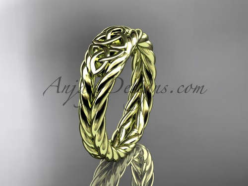 Twisted rope wedding band, yellow gold celtic ring RPCT9603G