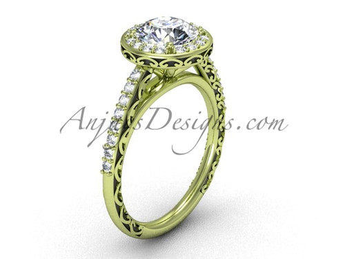 Unusual Engagement Ring, Yellow Gold Modern Marriage Ring SGT615