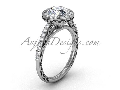 Moissanite center Platinum Modern Halo Wedding Ring SGT615