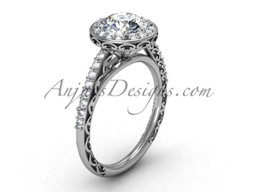 Vintage Halo Engagement Rings, White Gold Bridal Ring SGT615