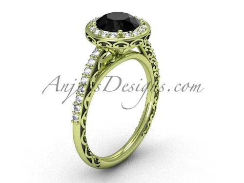 Black Diamond Bridal Ring, Yellow Gold Modern Halo Ring SGT615