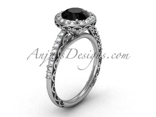 Black Diamond Platinum Ring Modern Halo Engagement Ring SGT615