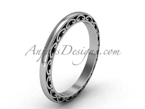 Vintage Wedding Band, Womens White Gold Bridal Ring  SGT616